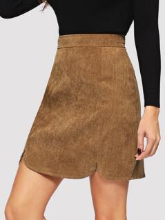 Slit Curved Hem Solid Cord Skirt