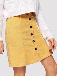 Button Up Cord Skirt