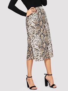 Leopard Print Wide Waistband Skirt