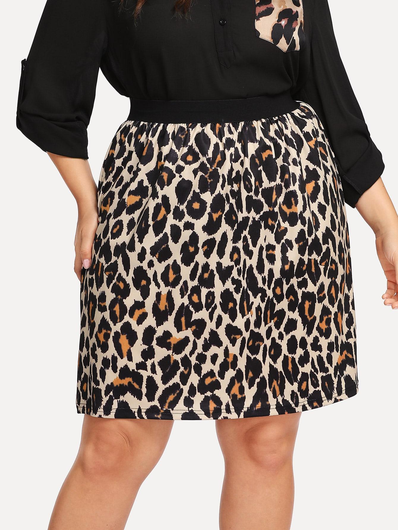 Купить Контрастная юбка пояса с принтом леопардового размера плюс, Franziska, SheIn
