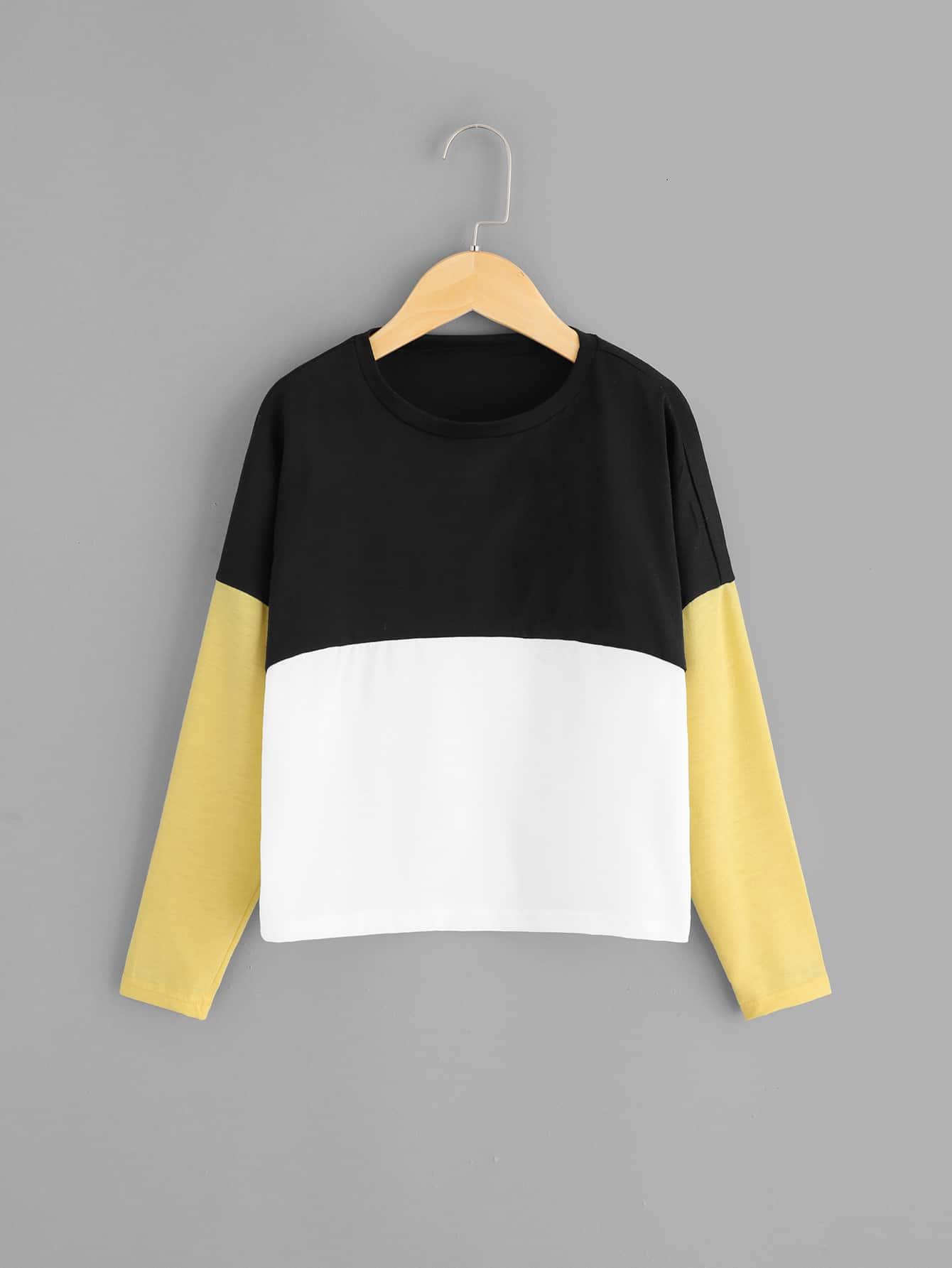 Купить Контрастная футболка с круглым воротником для девочек, null, SheIn