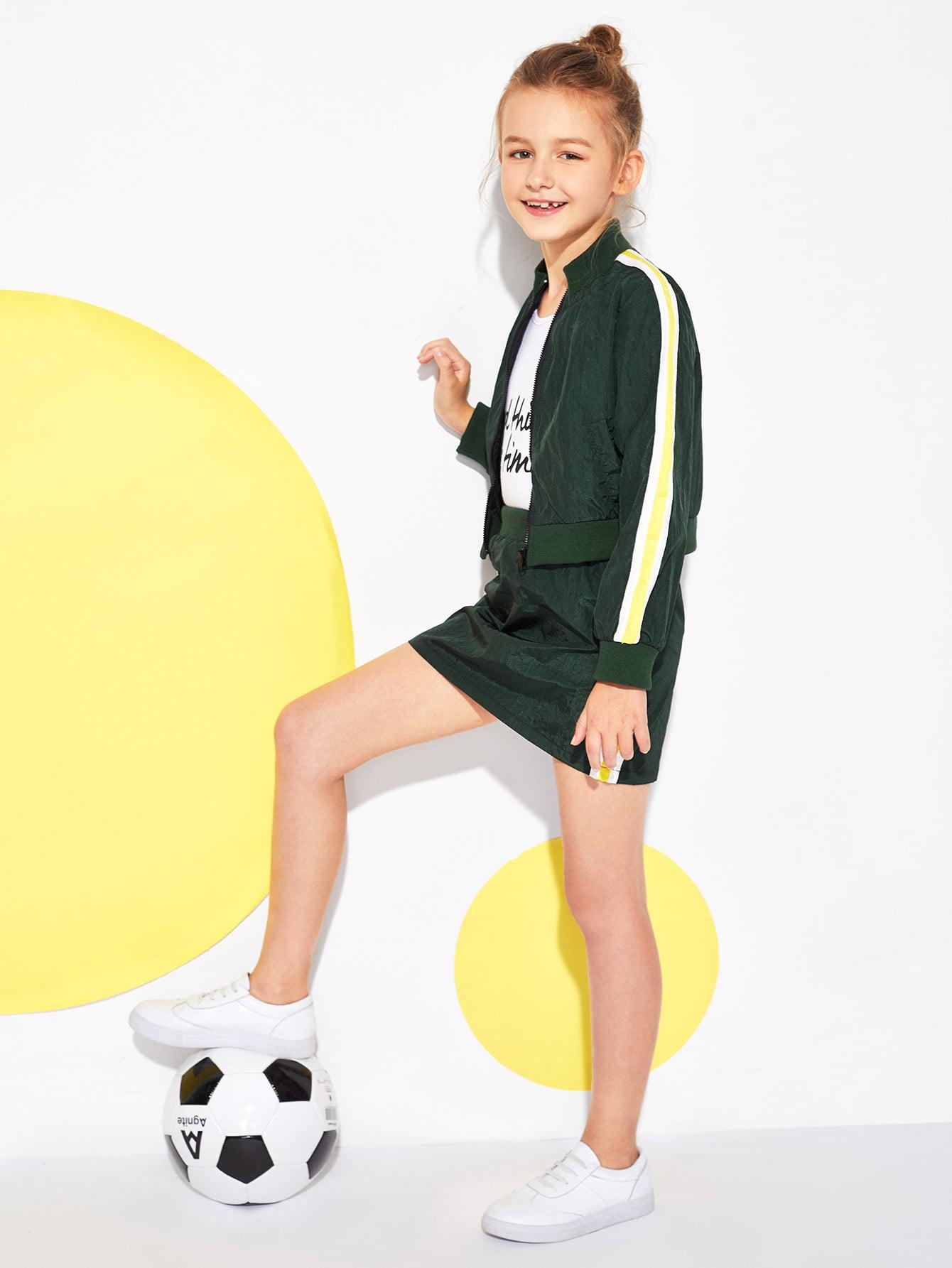 Купить Контрастная ветровка и юбка для девочек, Sashab, SheIn