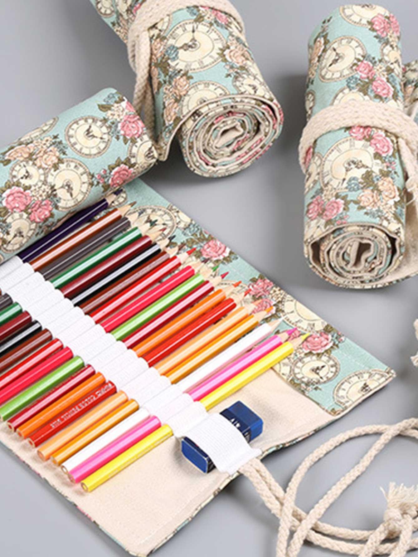 Купить Пенал для карандашей с принтом случайным цветочным 1 шт, null, SheIn