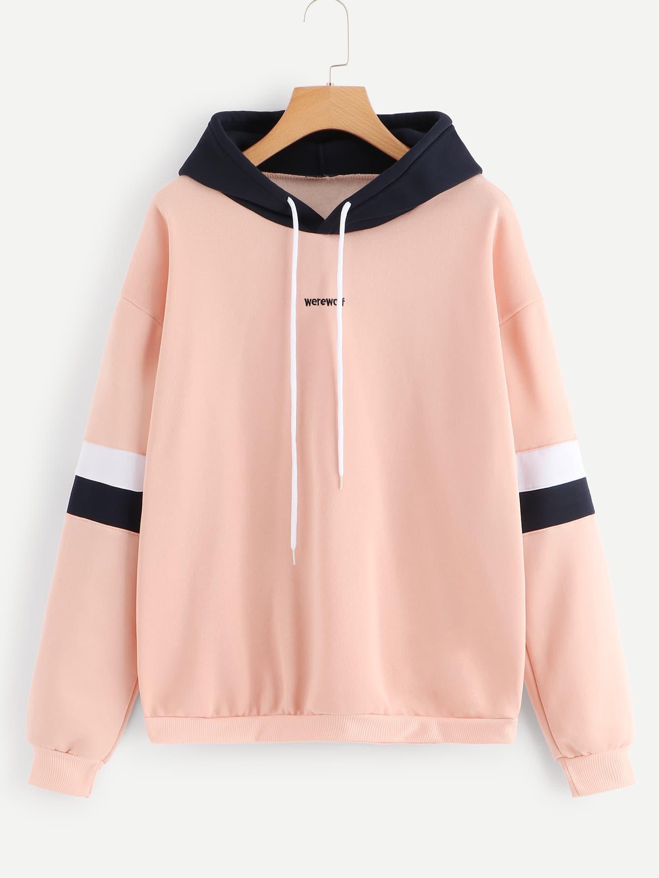 Купить Повседневный Текст Контрастный цвет Пуловеры Розовый Свитшоты, null, SheIn