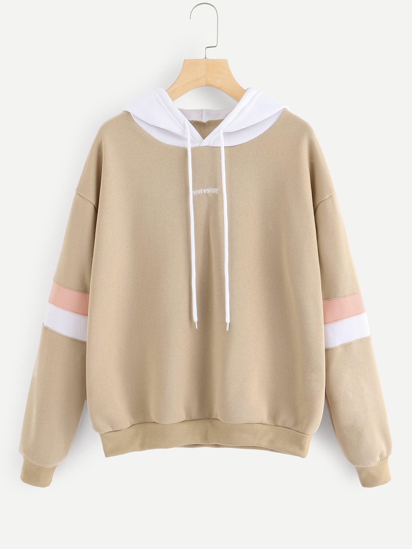 Купить Повседневный Текст Контрастный цвет Пуловеры Хаки Свитшоты, null, SheIn