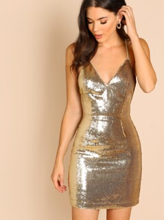 Crisscross Backless Sequin Dress
