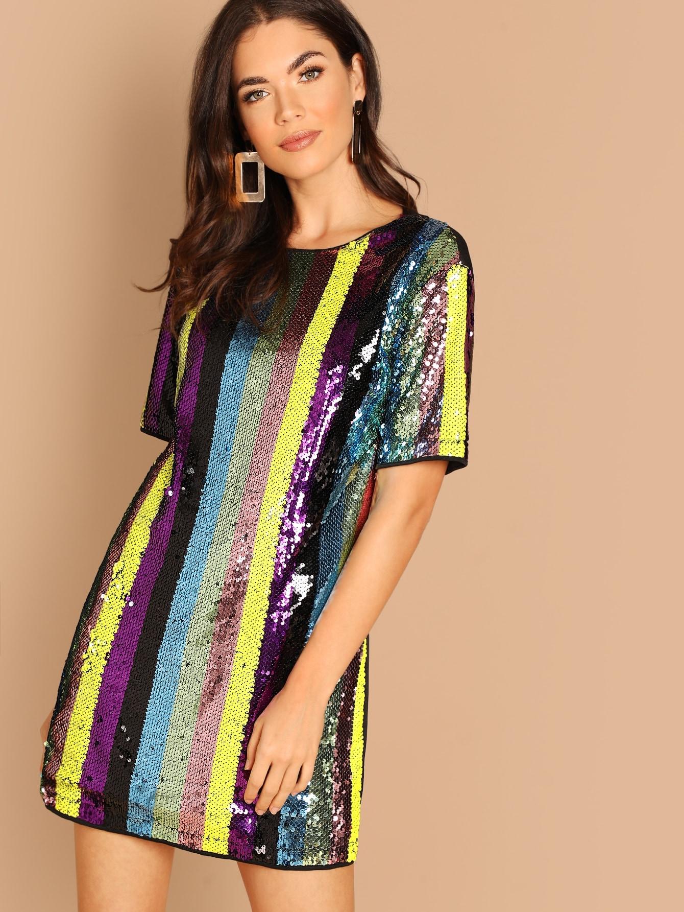 Купить Полосатое платье с блестками, Aarika Wolf, SheIn
