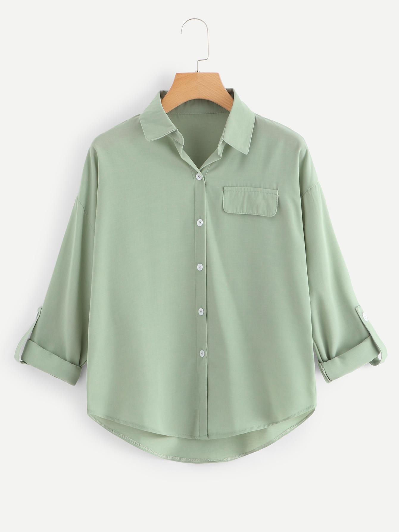 Купить Зеленый Пуговица Одноцветный Повседневный Блузы+рубашки, null, SheIn