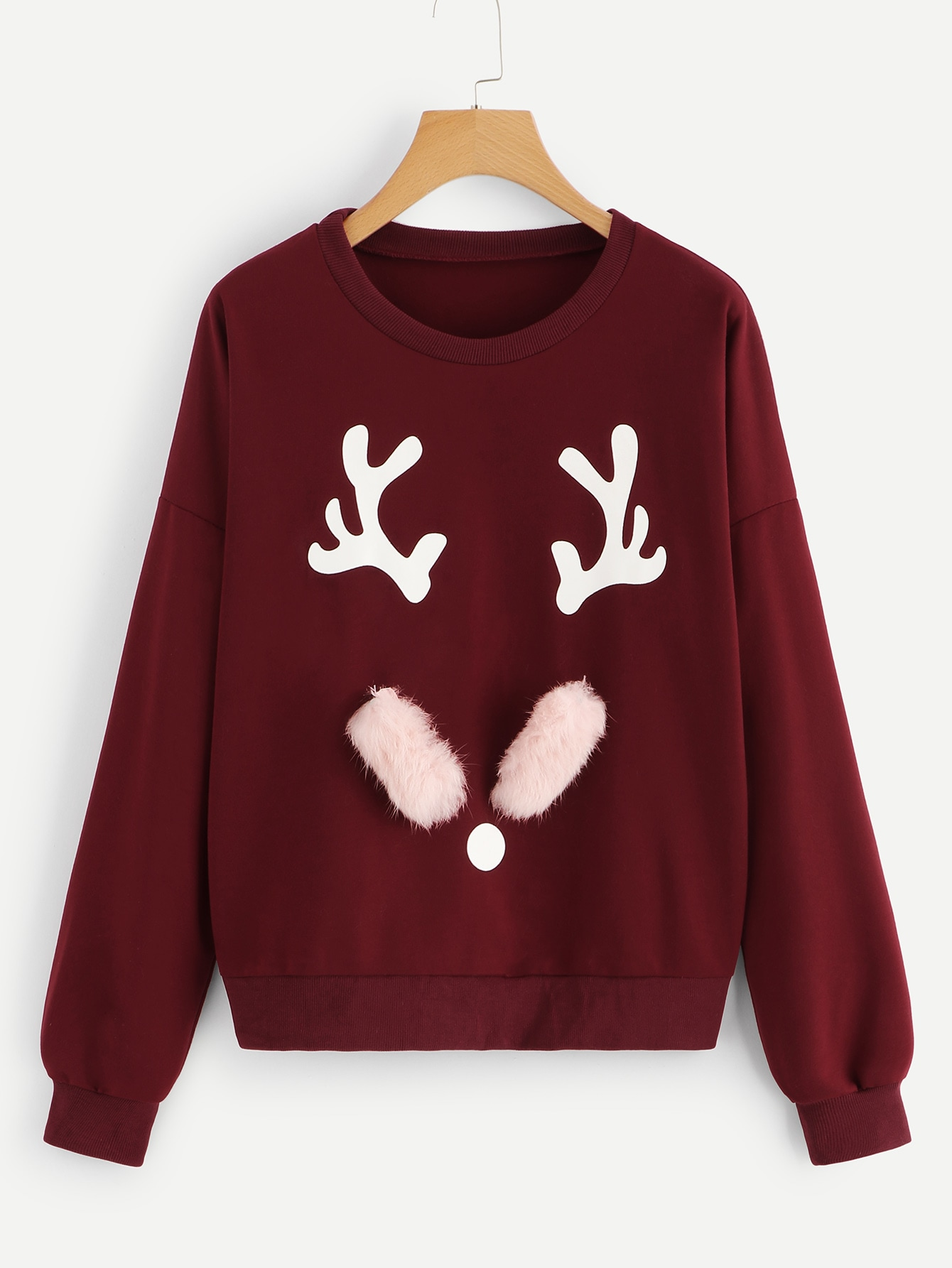 Купить Свитшот с заниженной линией плеч и рождествеским принтом, null, SheIn