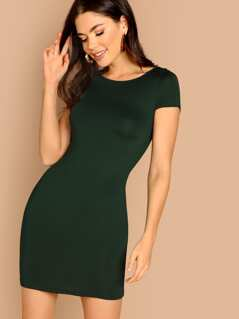 Cap Sleeve Solid Bodycon Dress