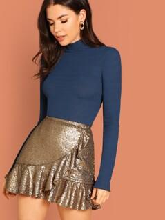 Ruffle Hem Sequin Skirt
