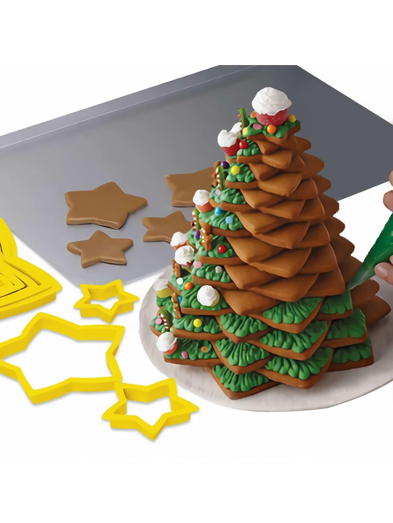 Купить Формовка для выпечки в форме рождественской звезды 4 шт, null, SheIn