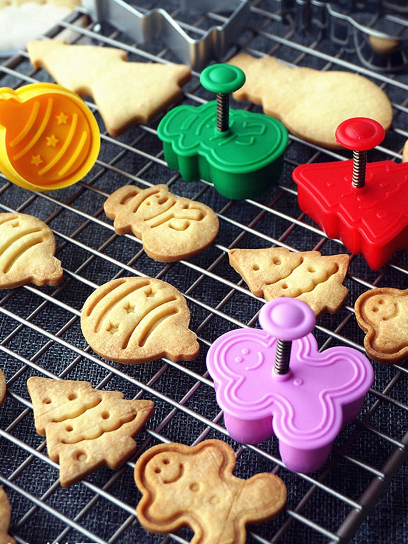 Купить Случайная цветная рождественская формовка для выпечки 4 шт, null, SheIn