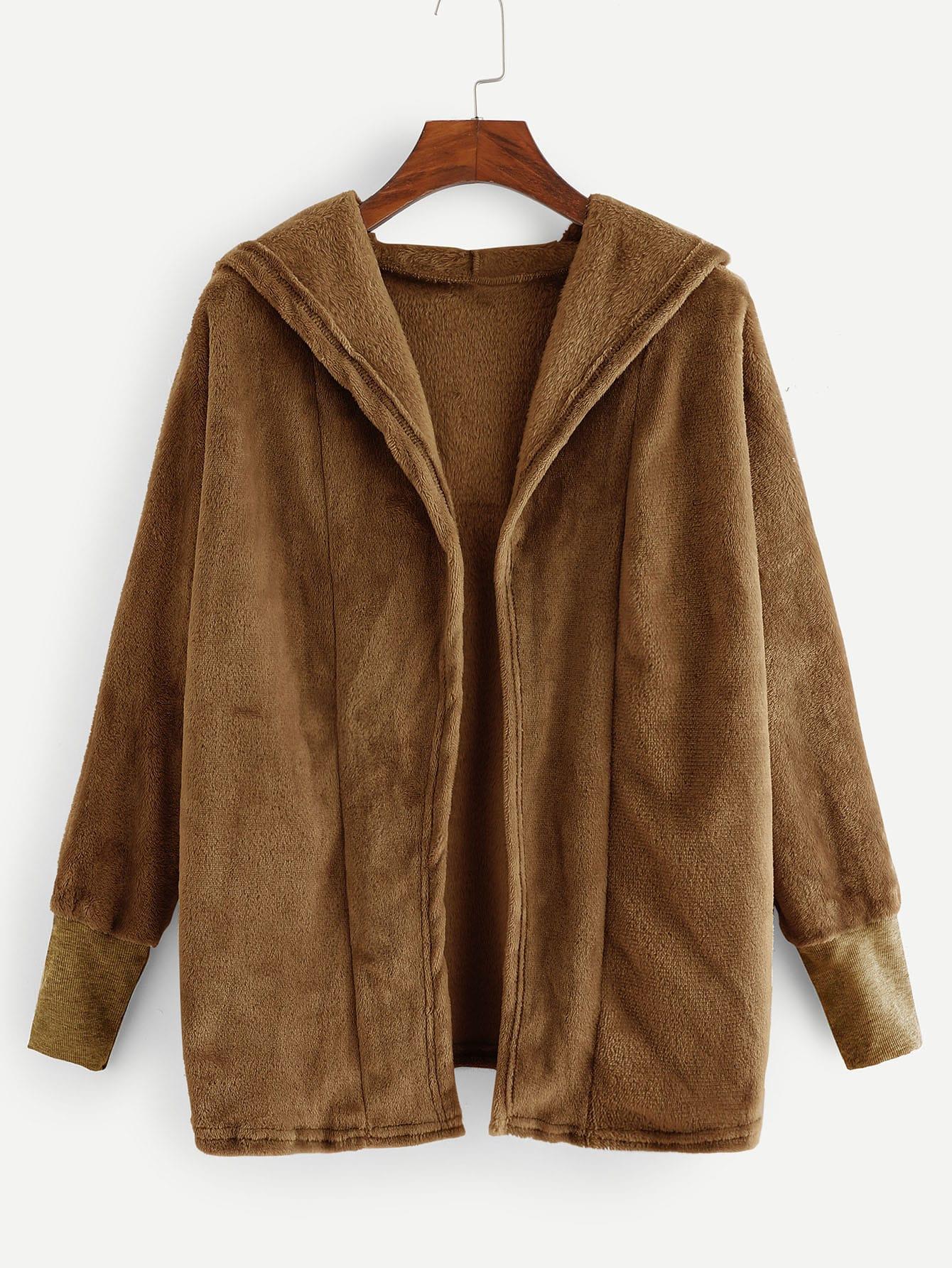 Купить Однотонное коралловое пальто с капюшоном, null, SheIn