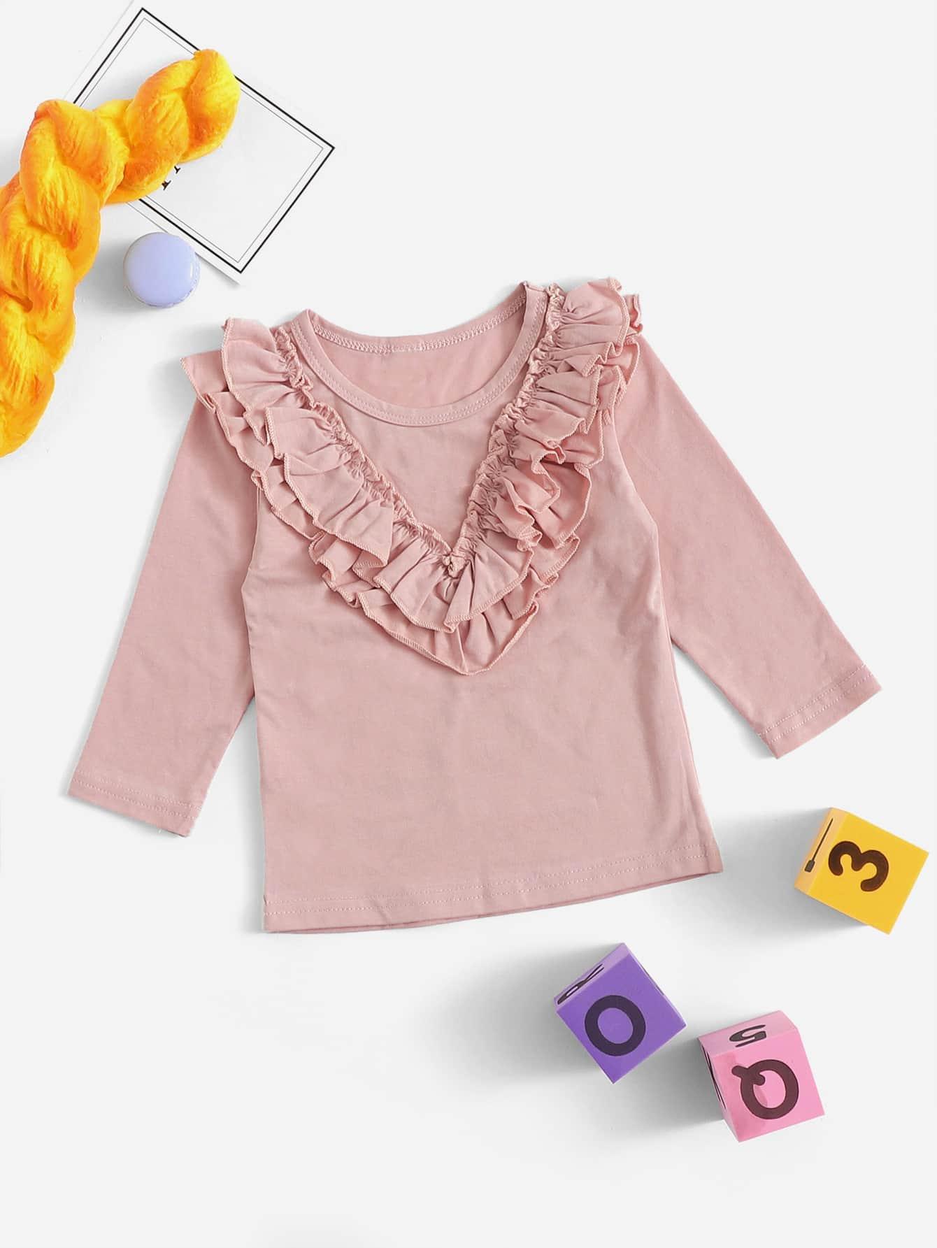Купить Однотонная футболка с кружевными оборками для маленьких девочек, null, SheIn