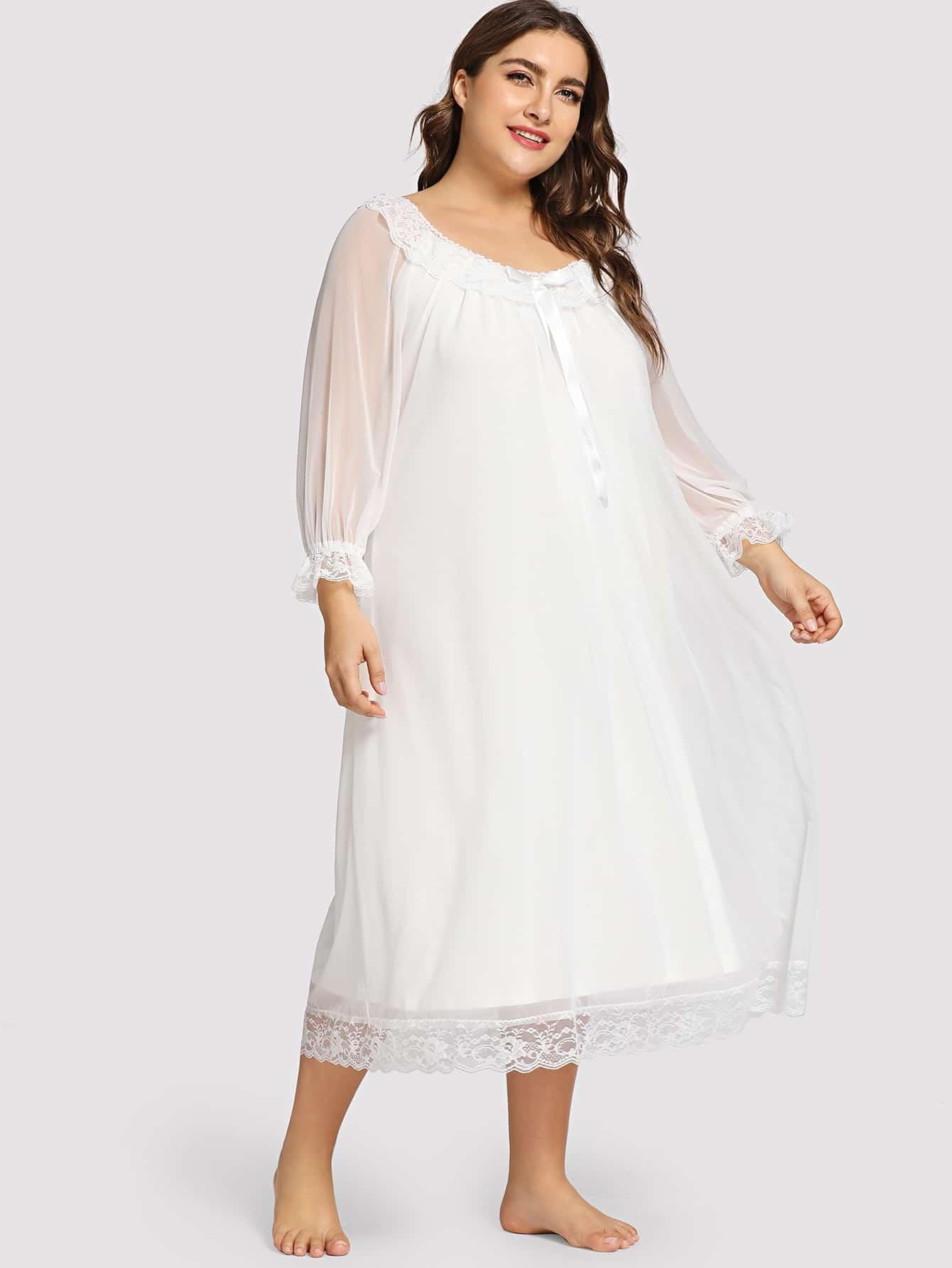 Купить Размера плюм ночная сорочка с бантом и цветочными кружевами, Franziska, SheIn