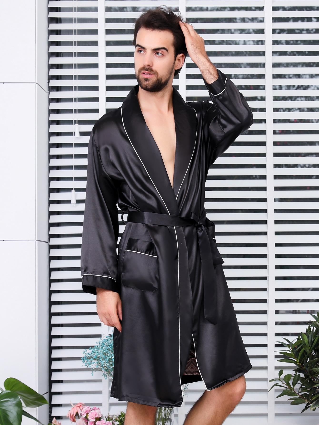 Купить Мужский сатиновый домашний халат с поясом и контрастной отделкой, null, SheIn