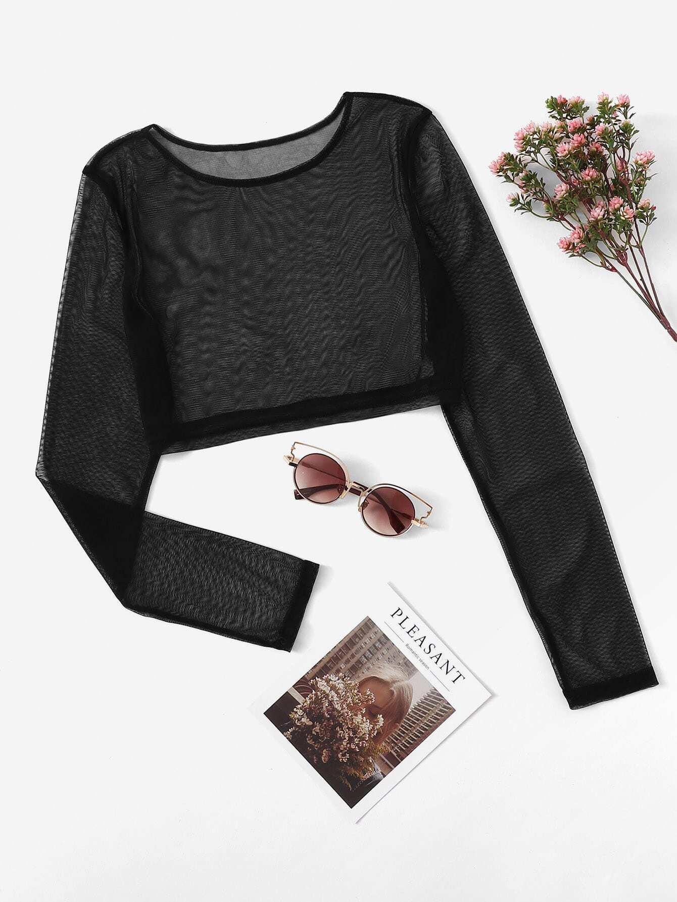 Купить Сетчатая прозначная блузка, null, SheIn