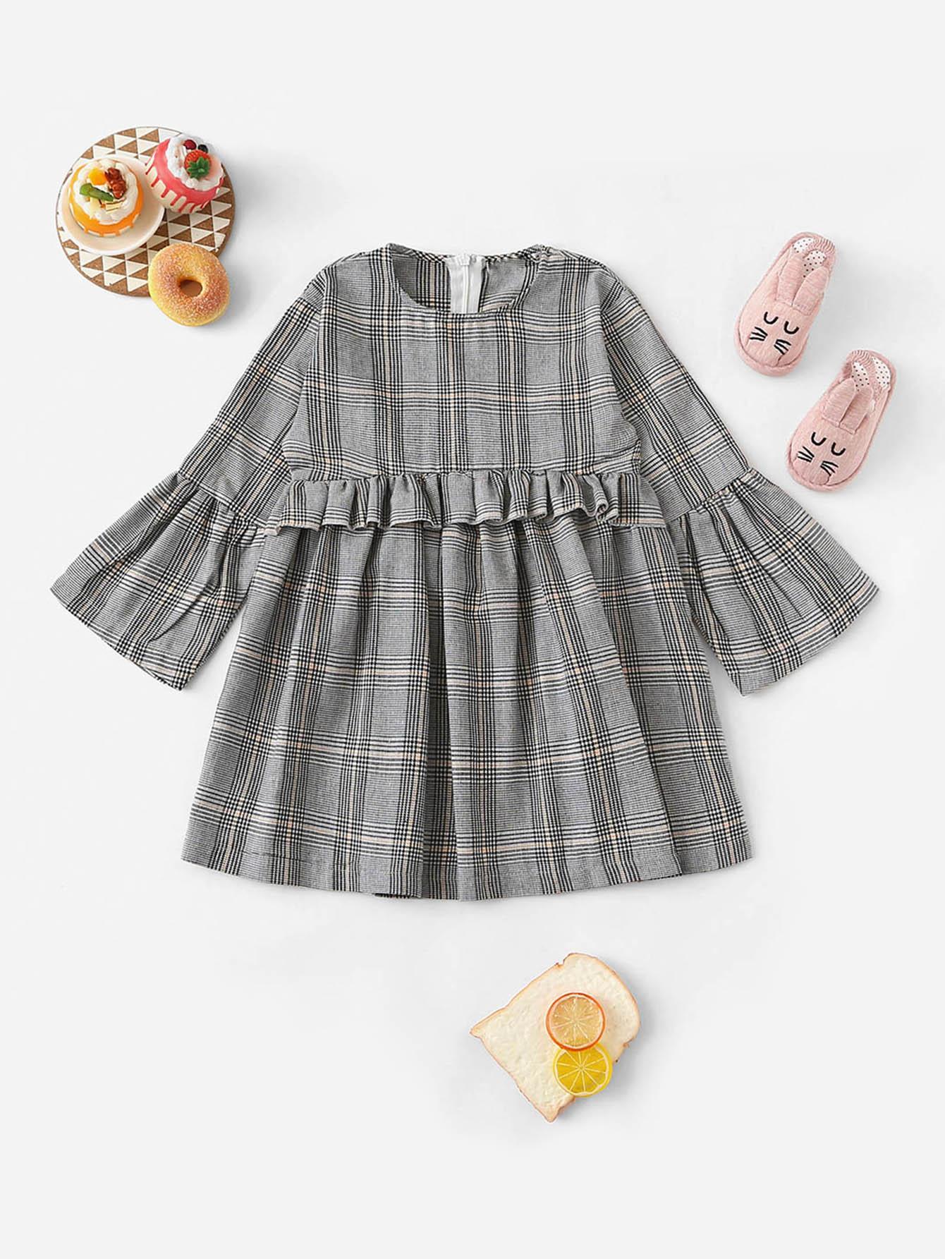 Фото - Платье в клетку с кружевными оборками для девочек от SheIn цвет серые