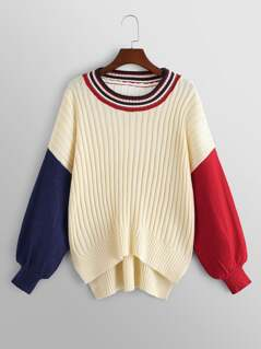 Striped Neck Stepped Hem Sweater
