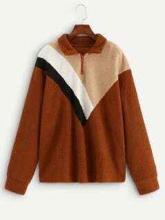 Plus Zip Front Colorblock Teddy Jacket