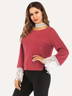 Floral Lace Insert Ribbed Knit Top
