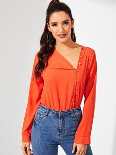 Neon Orange Button Front Tunic Top