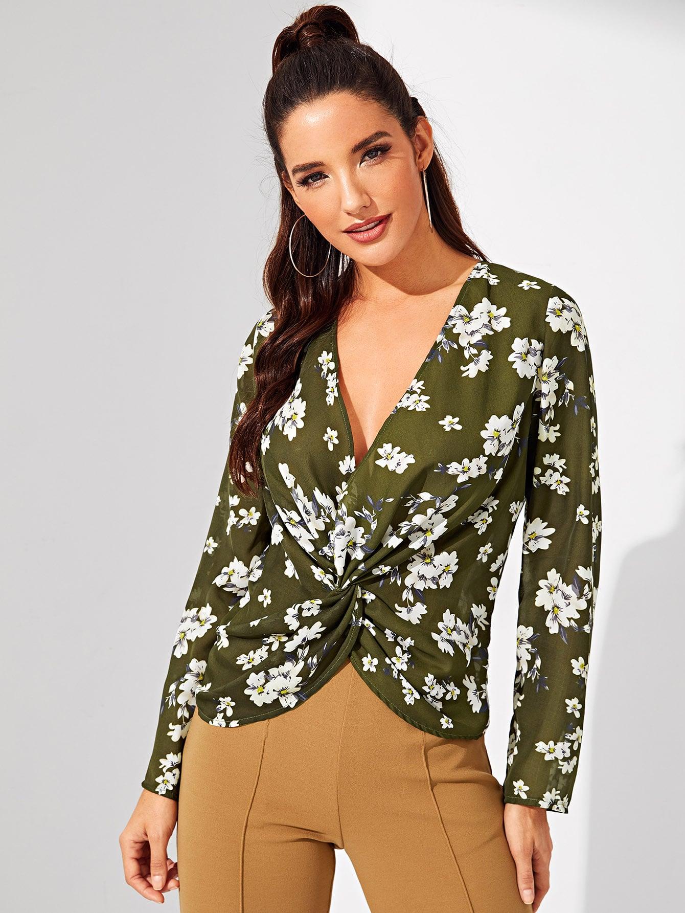 Купить Витой спереди цветочная блузка, Juliana, SheIn