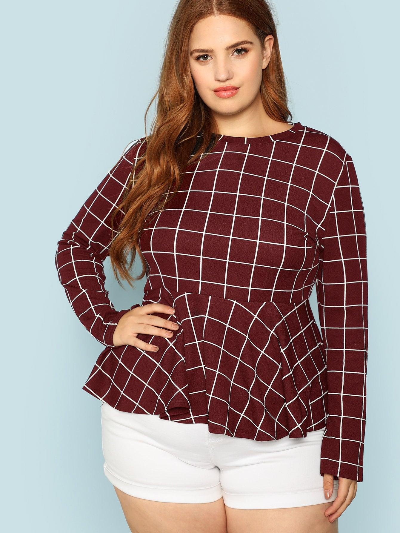 Купить Плюс размеры блузка в клетку, Bree Kish, SheIn