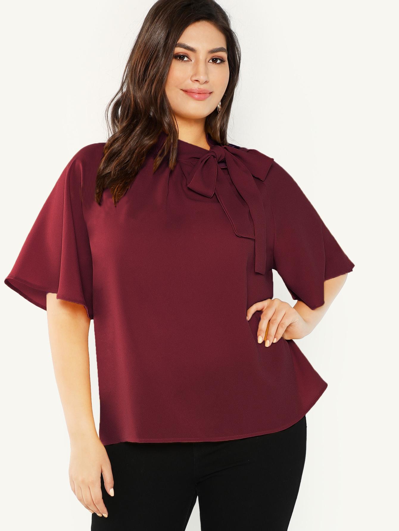 Фото - Плюс размера блузка с завязкой на шее от SheIn цвет бургундия