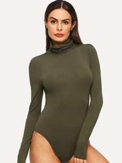 High Neck Slim Fitted Bodysuit