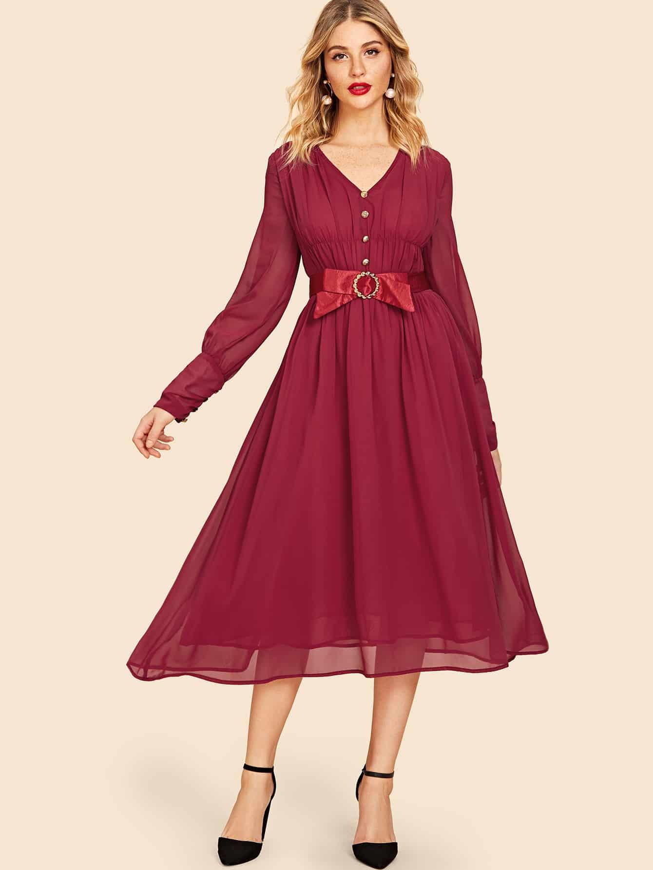 Купить Плиссированное платье с поясом и украшением пуговицы, Nathane, SheIn