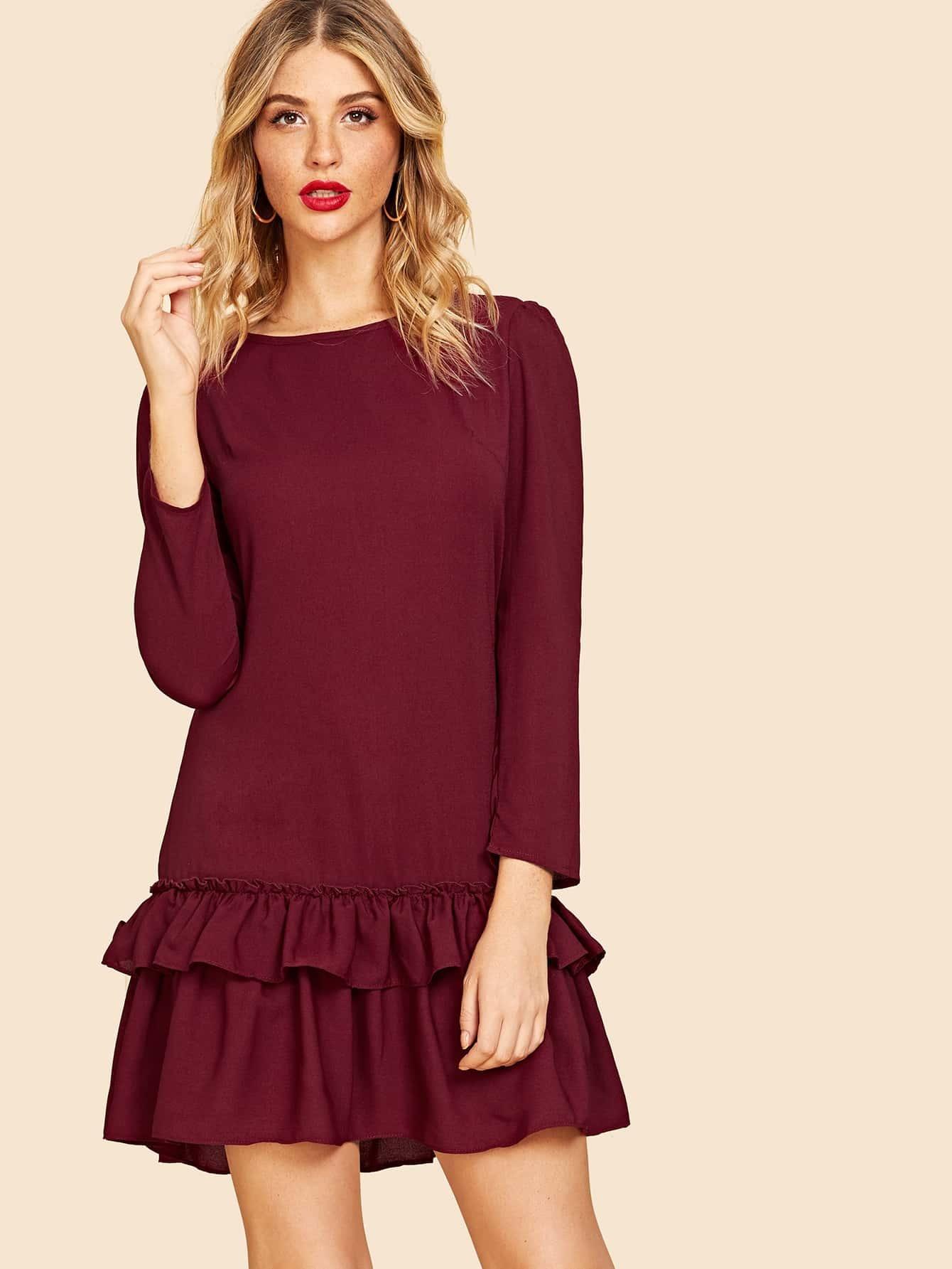 Купить Туника платье с оборками, Nathane, SheIn
