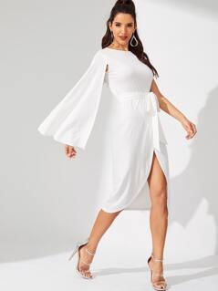 Waist Belted Split Solid Dress