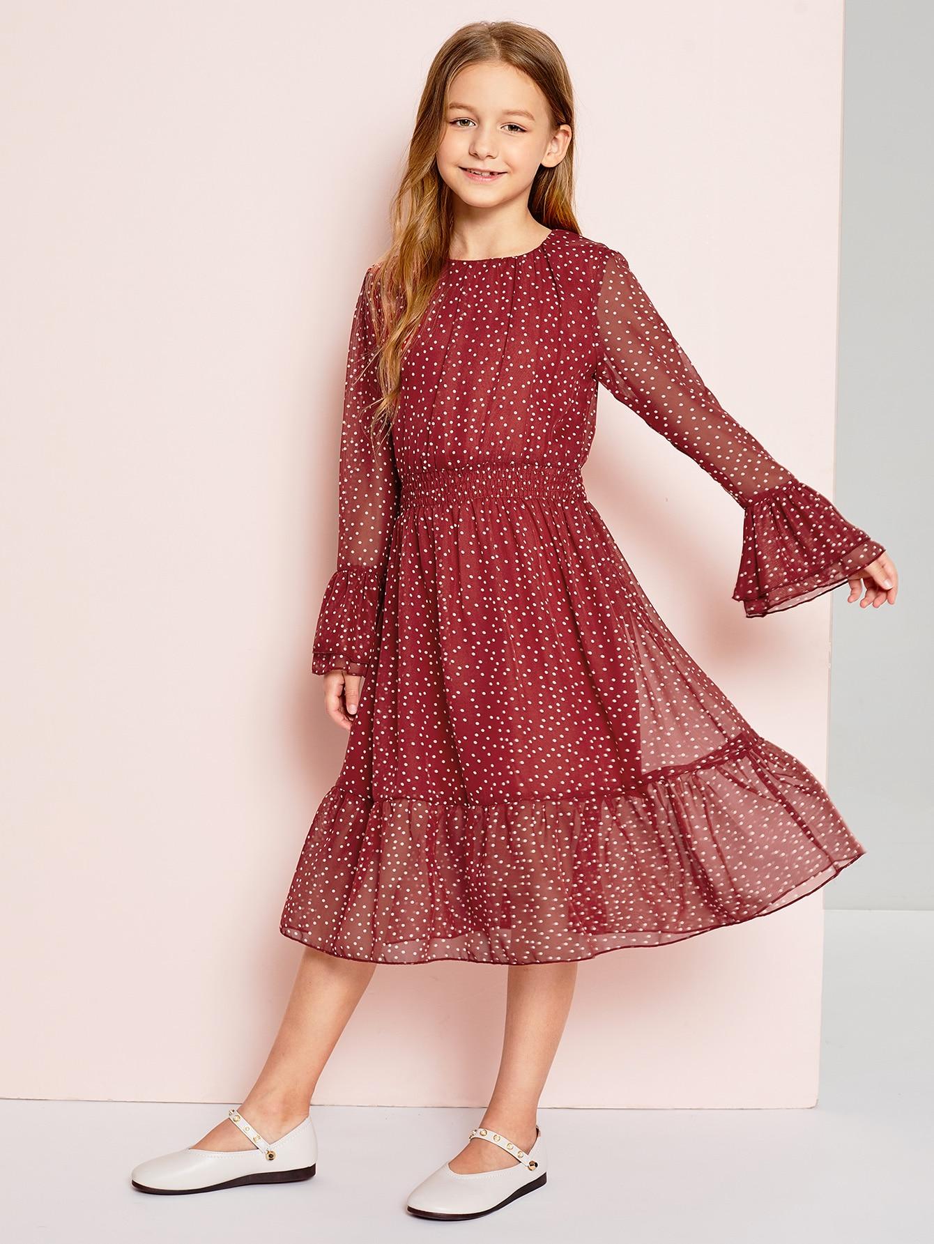Купить Для девочек платье в горошек с оборками рукавами, Sashab, SheIn