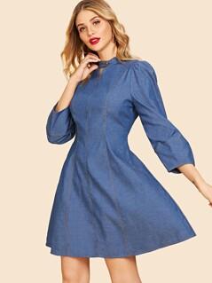 Zip Back Button Front Dress