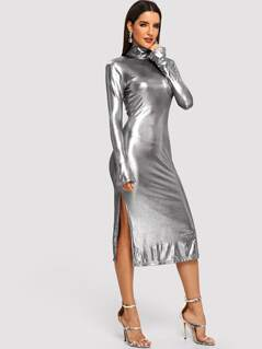 Bell Sleeve Split Side Metallic Dress