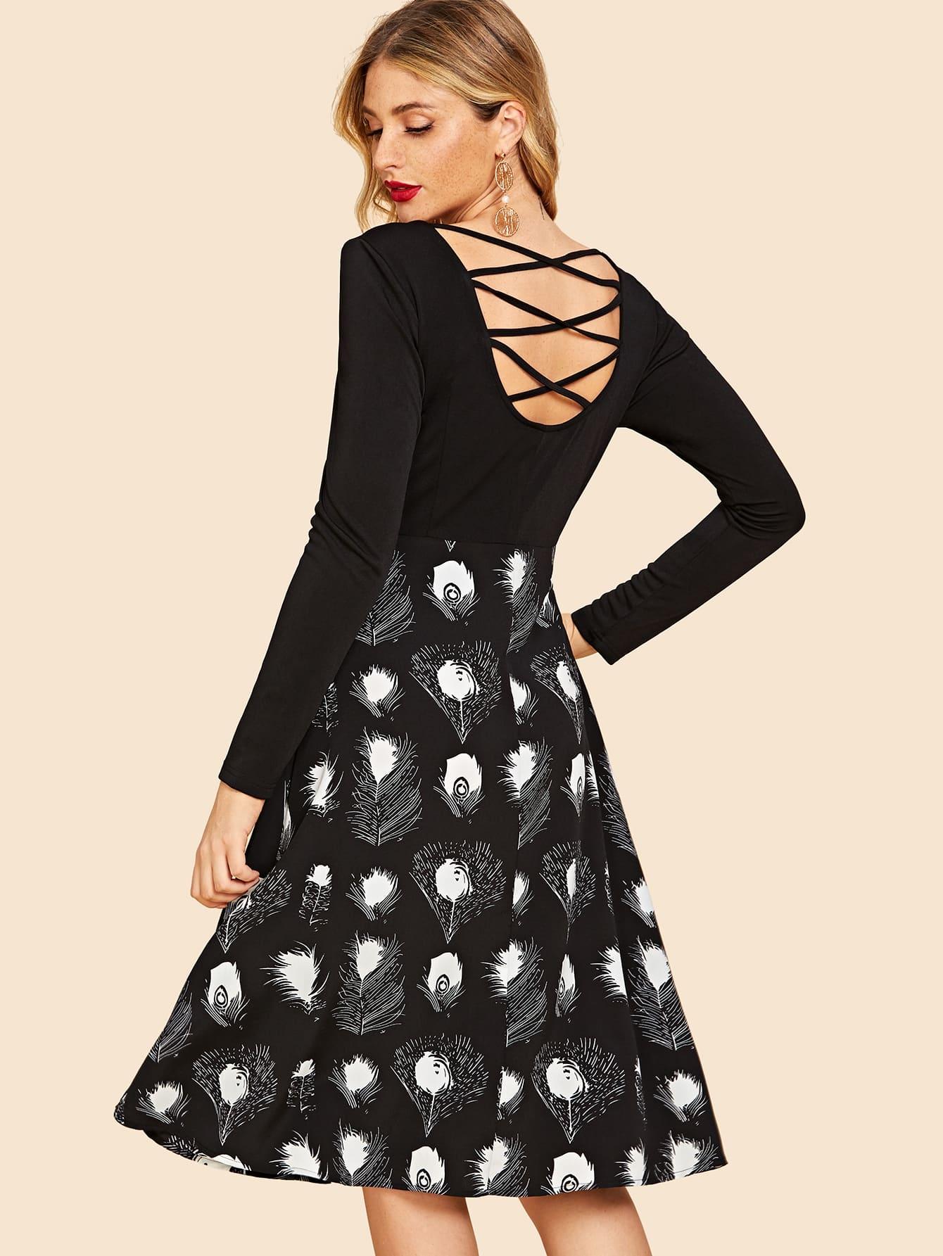 Фото - Крест накрест сзади платье с длинным рукавом от SheIn цвет чёрные