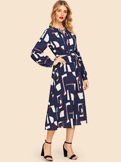 7e9553a6cd2 V Neck Geo Belted 80s Dress