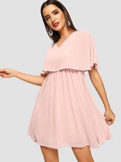 Zip Back V-Neck Solid Dress