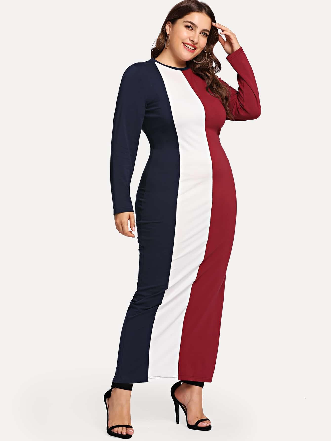 Разноцветное облегающее платье размера плюс