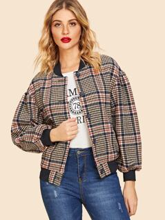 70s Button Up Houndstooth Bomber Jacket