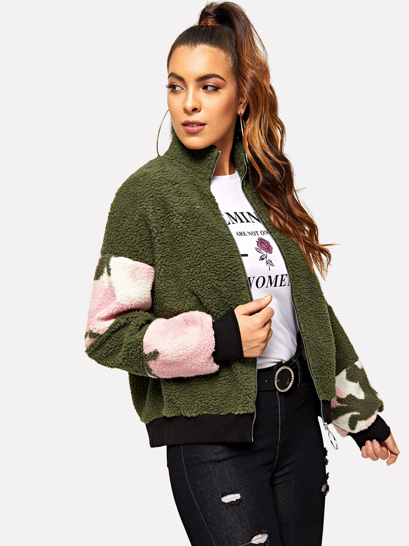 Женская куртка с цветными блоками с о-молния, DANI A, SheIn  - купить со скидкой