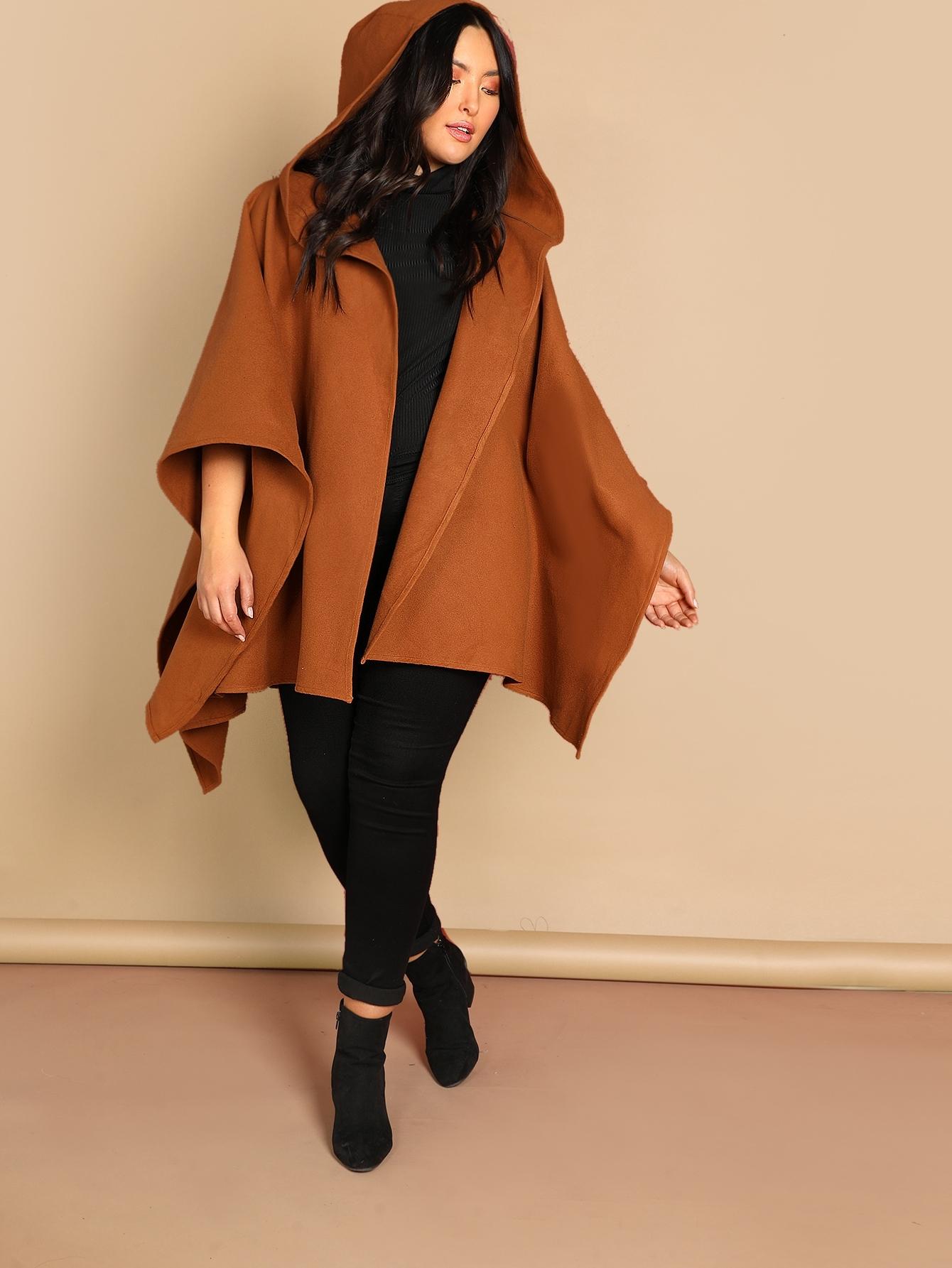 Фото - Плюс размера открытой передней пальто с капюшоном от SheIn цвет коричневые