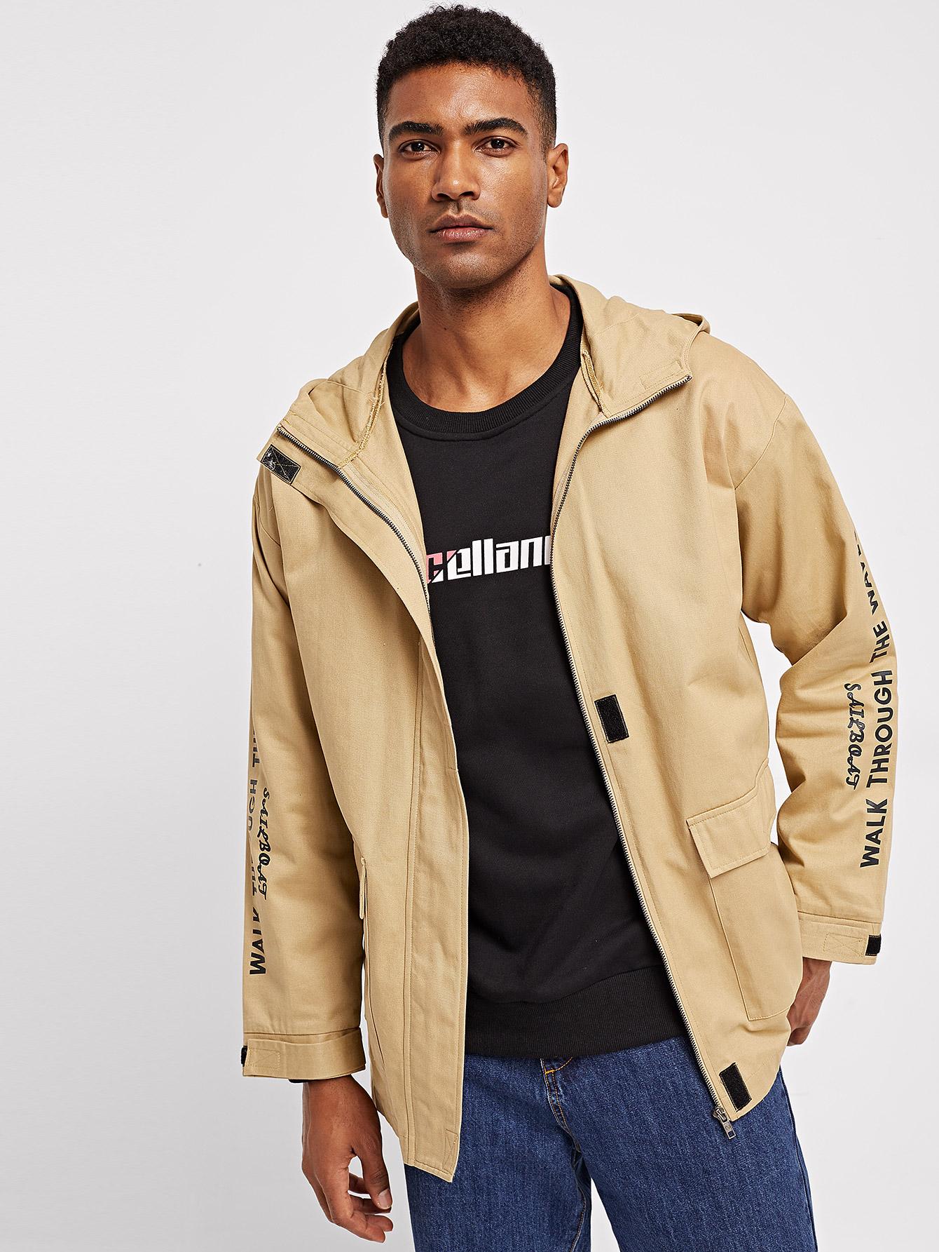 Купить Мужское пальто с капюшоном и застёжкой молния, Johnn Silva, SheIn