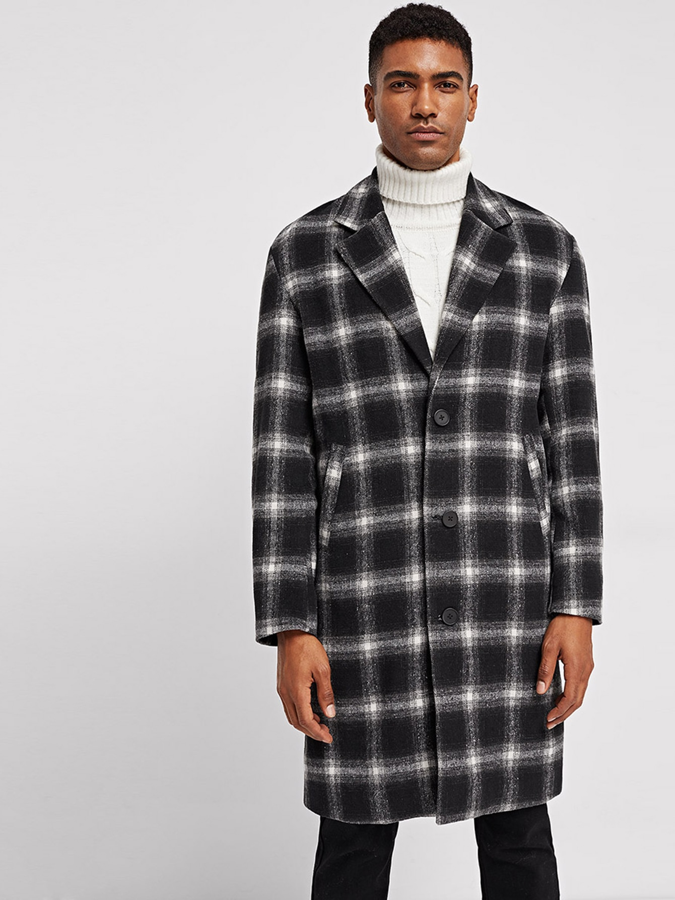 Купить Мужское однобортное пальто в клетку, Johnn Silva, SheIn