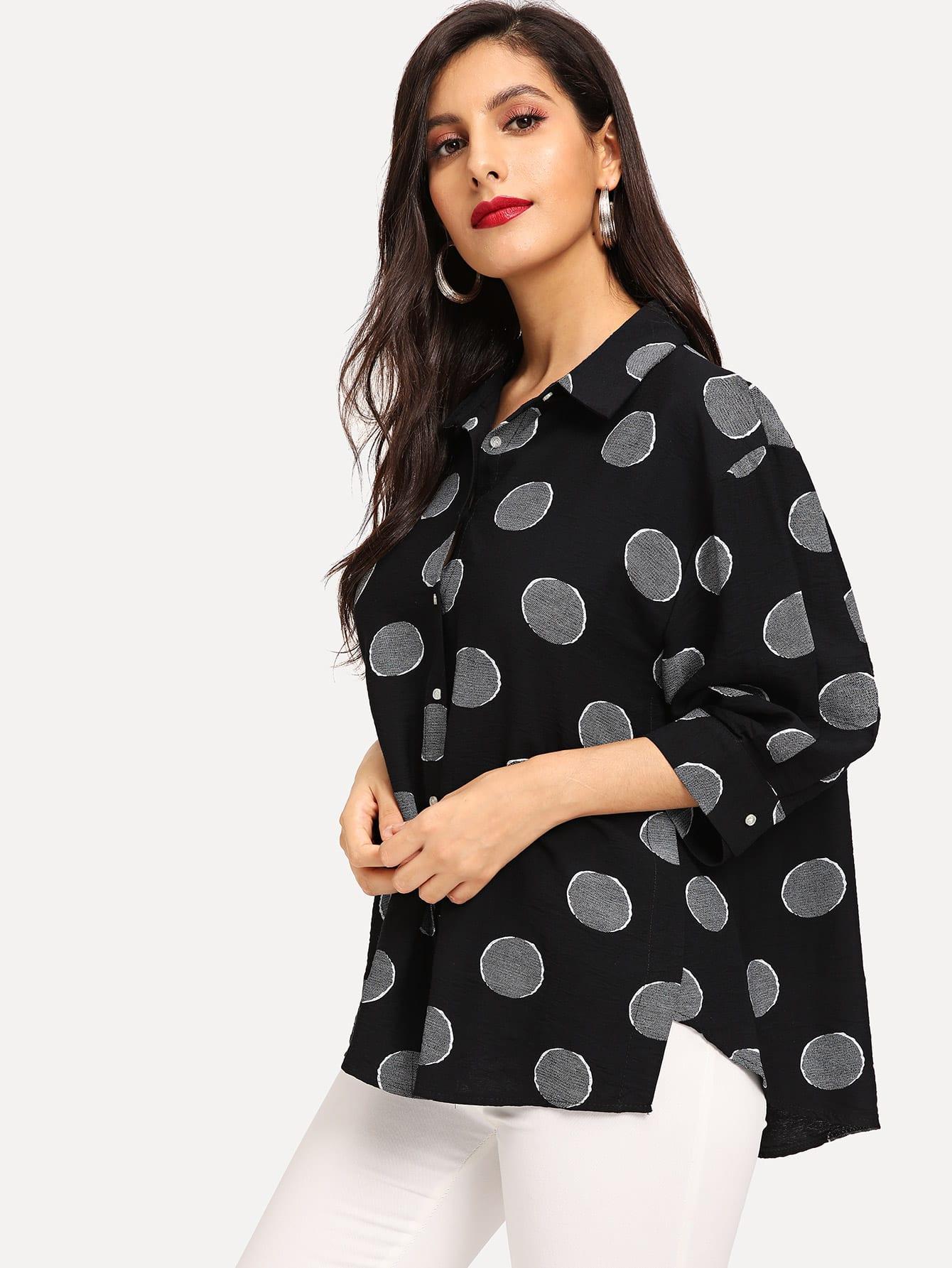 Купить Однобортная блуза в горошек с заниженной линией плеч, Jeane, SheIn