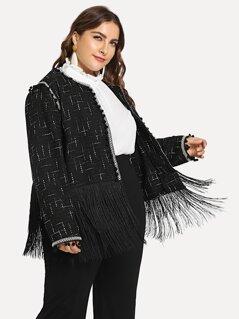 Plus Layered Fringe Pom Pom Detail Tweed Coat