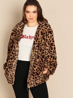 Plus Leopard Print Teddy Jacket