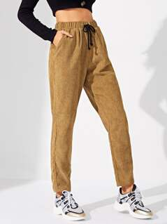 Drawstring Waist Pocket Cord Pants